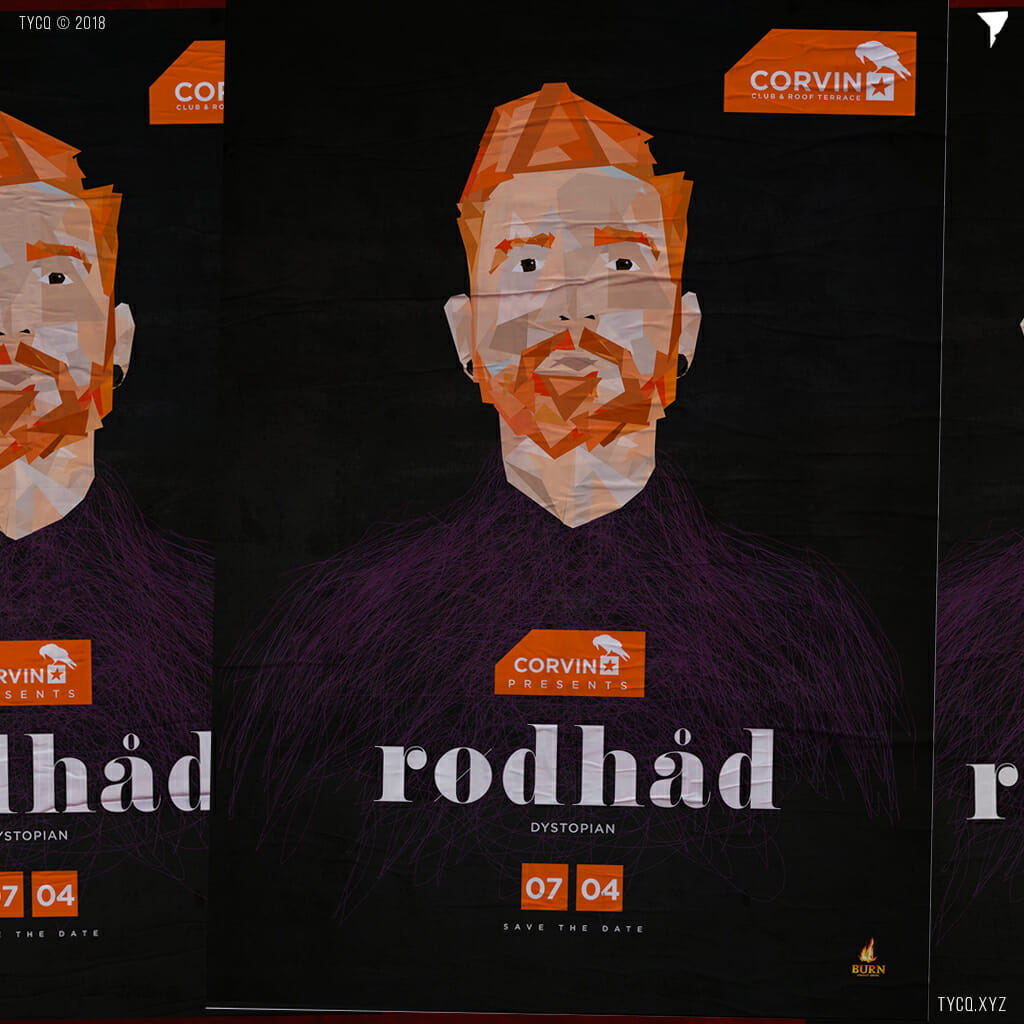 Rodhad at Corvin Club techno party flyer
